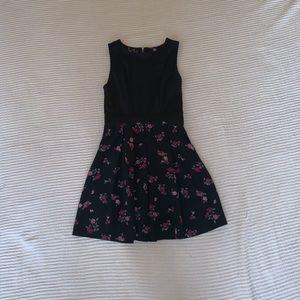 Black and Floral Skater Dress